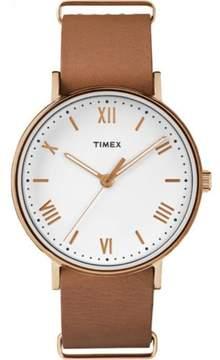 Timex Men's Southview 41 White/Rose Gold-Tone Watch, Tan Leather Strap