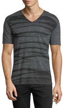 John Varvatos Striped V-Neck Linen T-Shirt