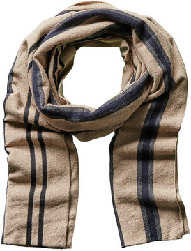 Portolano Men's Brown Stripe Cashmere, Silk, & Wool-Blend Scarf