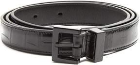 SAINT LAURENT Crocodile-effect leather belt