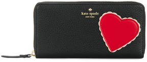Kate Spade heart patch zip around continental wallet - BLACK - STYLE