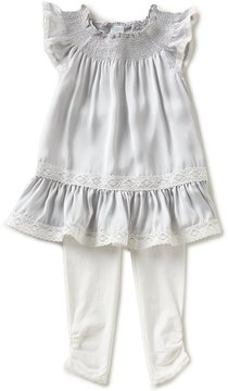 Edgehill Collection Little Girls 2T-4T Satin Flutter-Sleeve Top & Leggings Set