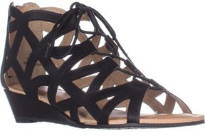 Esprit Cacey Geometric Cutout Lace Up Wedge Ankle Booties, Black.