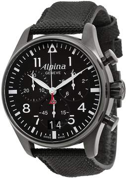 Alpina Startimer Pilot Black Dial Black Fabric Strap Men's Watch AL372B4FBS6