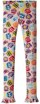 Fendi Fur Monster Print Leggings Girl's Casual Pants