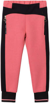 Versace Pink and Black Neoprene Track Pants with Medusa Studs