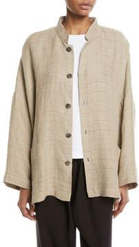eskandar Mandarin Check Linen Jacket