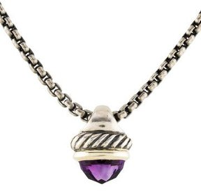 David Yurman Amethyst Acorn Pendant Necklace