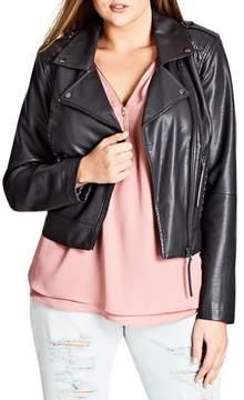 City Chic Whipstitched Biker Jacket