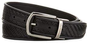 Ermenegildo Zegna Reversible Pelle Tessuta Leather Belt, Black