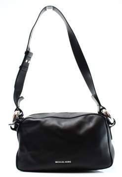 Michael Kors Black Silver Leather Grand Medium Shoulder Bag Purse - BLACKS - STYLE