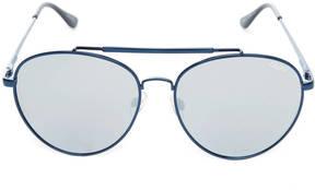 Quay Lickety Split Blue & Silver Flat Aviator Sunglasses