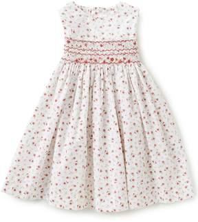 Edgehill Collection Little Girls 2T-4T Rose Print Smock Dress