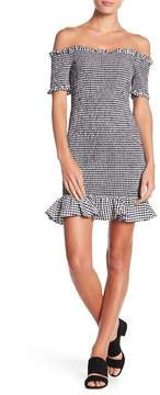 WAYF Smocked Gingham Print Mini Dress