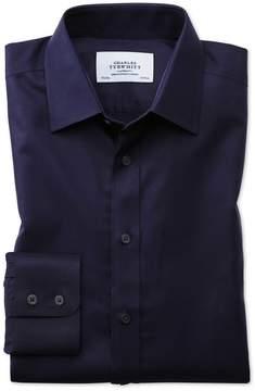 Charles Tyrwhitt Classic Fit Non-Iron Twill Navy Blue Cotton Dress Shirt Single Cuff Size 15/35