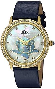 Burgi Mother Of Pearl Dial Ladies Blue Leather Watch