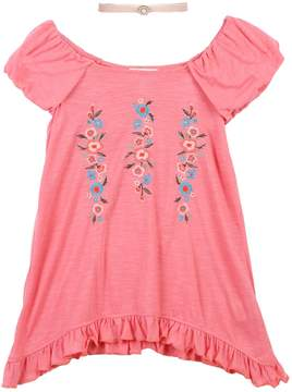 Speechless Girls 7-16 Floral Embroidered Tunic Top with Choker Necklace