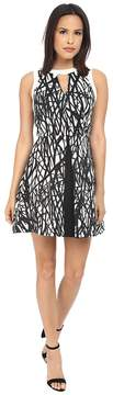 Adelyn Rae Printed with Solid Color Block Fit and Flare Dress Women's Dress