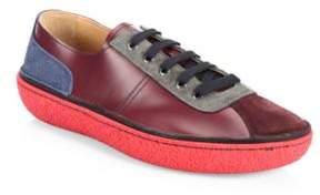 Prada Colorblock Leather Low-Top Sneakers