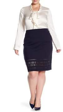 Atelier Luxe Comfort Waist Laser Cut Pencil Skirt (Plus Size)