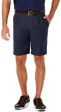 Haggar Men's Cool 18 PRO Straight-Fit Solid Pleated Shorts