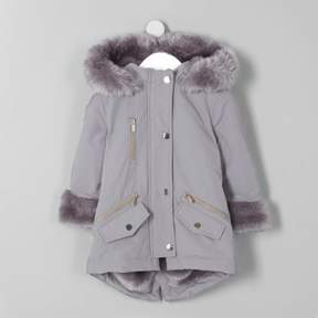 River Island Mini girls grey faux fur trim parka coat