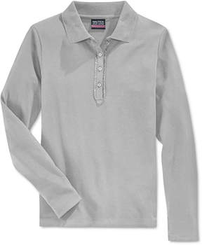 Nautica School Uniform Ruffled Long-Sleeve Polo Shirt, Big Girls Plus