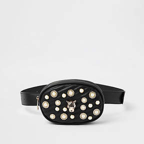 River Island Black quilted embellished belt bum bag