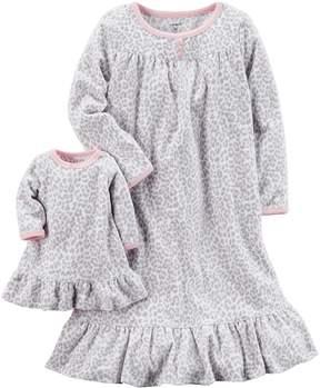 Carter's Girls 4-14 Cheetah Print Microfleece Dorm Nightgown & Doll Gown Set