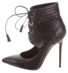 Brian Atwood Leather Snakeskin-Trimmed Boots