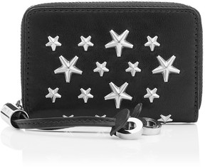 Jimmy Choo NELLIE Black Leather Coin Purse with Stars