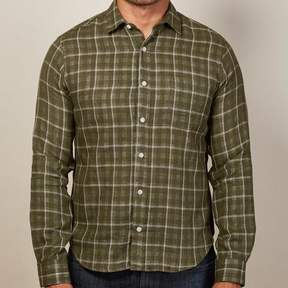 Blade + Blue Olive Windowpane & Gingham Double-Cloth Shirt - Billy