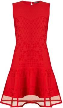 Alexander McQueen Contrast-panel floral-matelassé sleeveless dress