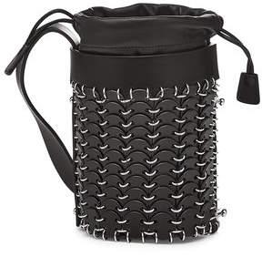 Paco Rabanne Bucket Mini Embellished Leather Shoulder Bag