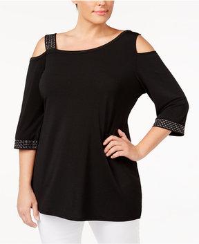 Belldini Plus Size Cold-Shoulder Embellished Top