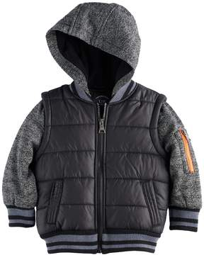 Urban Republic Toddler Boy Mixed Media Mock Layer Quilted Midweight Jacket