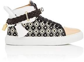 Buscemi Women's 100MM Raffia & Leather Sneakers