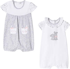 Mayoral Pack of 2 White and Grey Bunny Rompers