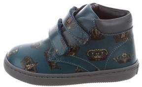 Dolce & Gabbana Boys' Leather Crown Print Sneakers w/ Tags