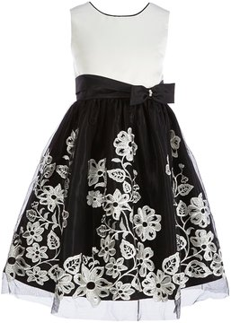 Jayne Copeland Little Girls 2T-6X Satin Floral-Embroidered Dress