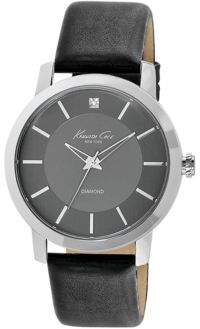 Kenneth Cole Mens Silvertone Diamond and Leather Watch