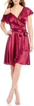 WAYF Rachelle Cold Shoulder Wrap Dress