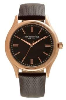 Kenneth Cole Mens Stainless Steel Leather Strap Watch
