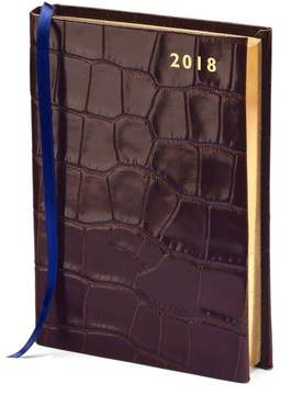 Aspinal of London A6 Day Per Page Leather Diary In Deep Shine Amazon Brown Croc