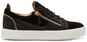 Giuseppe Zanotti Black Suede Zip May London Sneakers