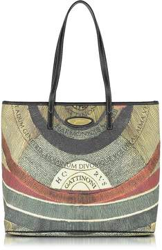 Gattinoni Planetarium Coated Canvas and Leather Medium w/Zip Tote