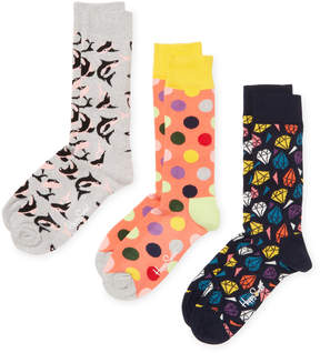 Happy Socks Men's Diamonds & Sharks Socks (3 PK) - Size 10-13