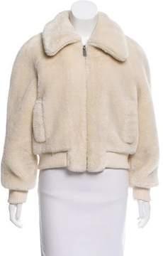 BA&SH Rib Knit Trimmed Faux Fur Jacket