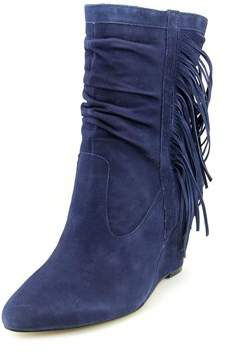 INC International Concepts Everleeh Women Round Toe Suede Blue Ankle Boot.