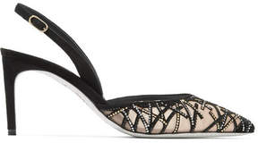 Rene Caovilla Crystal-embellished Suede And Mesh Pumps - Black